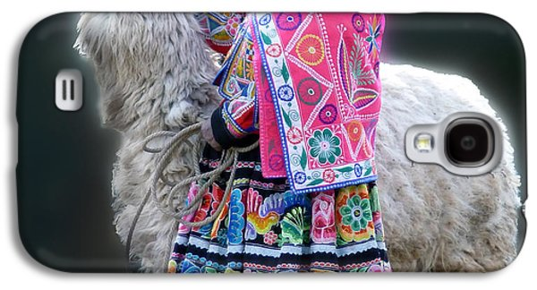 Llama Digital Galaxy S4 Cases - Woman with Llama I Galaxy S4 Case by Karen Lambert
