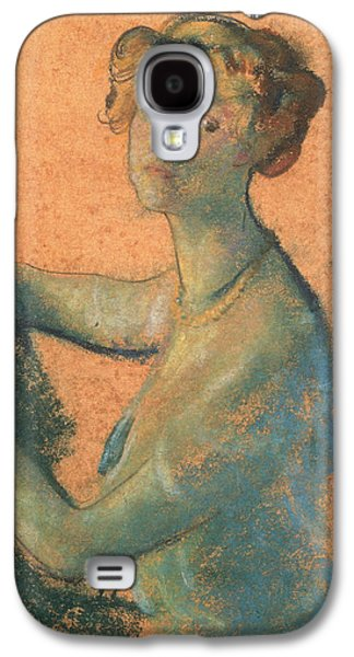 Woman With Orange Background Galaxy S4 Case by Arthur Bowen Davies
