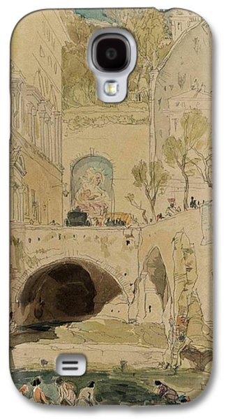 Women Washing In A Stream Beneath Buildings Galaxy S4 Case by James Holland