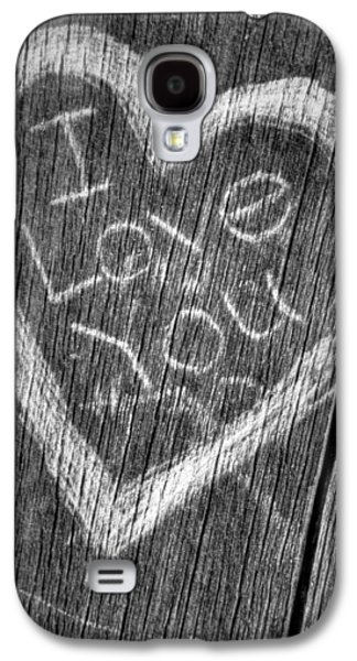 Vandalize Photographs Galaxy S4 Cases - Wood Carving I Love You Galaxy S4 Case by Connie Cooper-Edwards