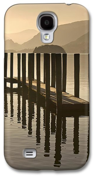 Calm Photographs Galaxy S4 Cases - Wooden Dock In The Lake At Sunset Galaxy S4 Case by John Short