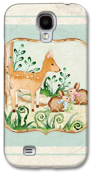 Woodland Fairy Tale - Deer Fawn Baby Bunny Rabbits In Forest Galaxy S4 Case by Audrey Jeanne Roberts