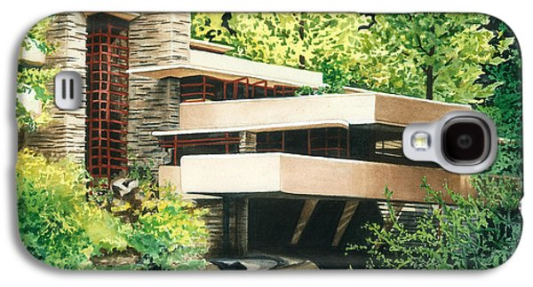 Woodlands Scene Paintings Galaxy S4 Cases - Fallingwater-a Woodland Retreat by Frank Lloyd Wright Galaxy S4 Case by Barbara Jewell