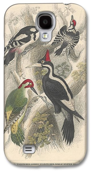 Botanical Galaxy S4 Cases - Woodpeckers Galaxy S4 Case by Oliver Goldsmith