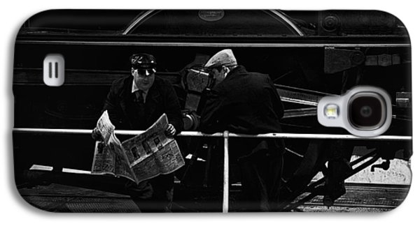 Historical Re-enactments Galaxy S4 Cases - Work  break in front of the Morayshire steam locomotive. Galaxy S4 Case by Mick Gosling