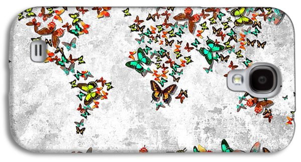 America The Continent Mixed Media Galaxy S4 Cases - World Butterflies Galaxy S4 Case by Daniel Janda