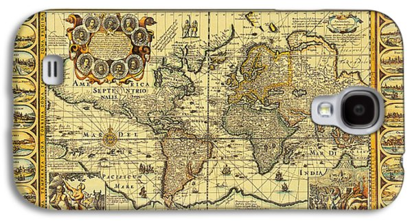 Seventeenth Century Galaxy S4 Cases - World Map 1626 Galaxy S4 Case by Photo Researchers
