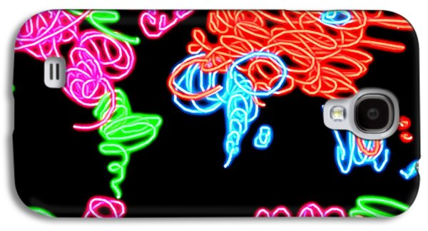 America The Continent Mixed Media Galaxy S4 Cases - World Map Neon Galaxy S4 Case by Daniel Janda