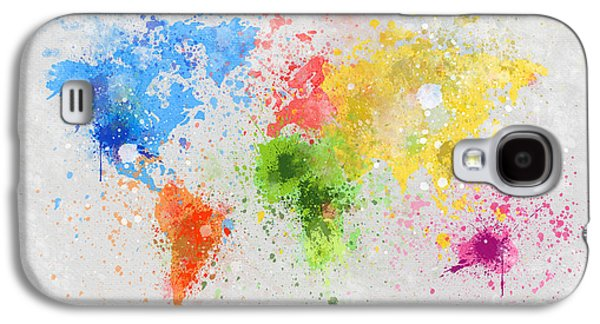 Red Abstract Pastels Galaxy S4 Cases - World Map Painting Galaxy S4 Case by Setsiri Silapasuwanchai