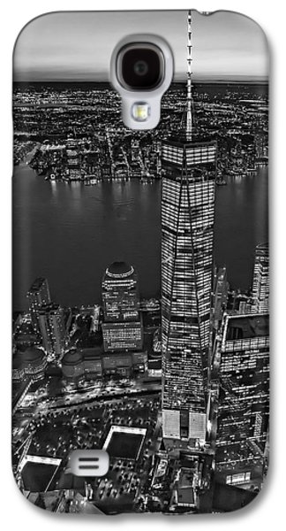 Freedom Galaxy S4 Cases - World Trade Center WTC From High Above BW Galaxy S4 Case by Susan Candelario