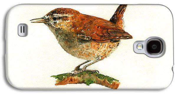 Wren Bird Art Painting Galaxy S4 Case by Juan  Bosco