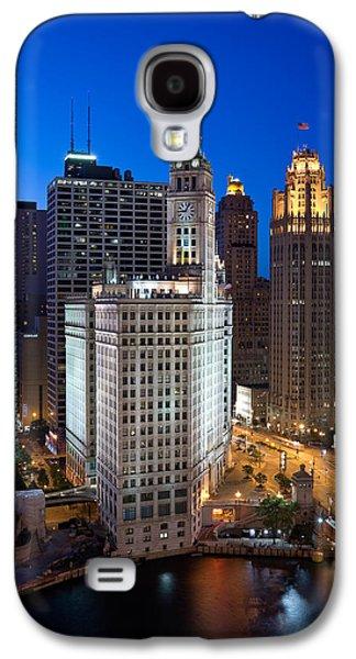 Chicago River Galaxy S4 Cases - Wrigley Building Night Galaxy S4 Case by Steve Gadomski