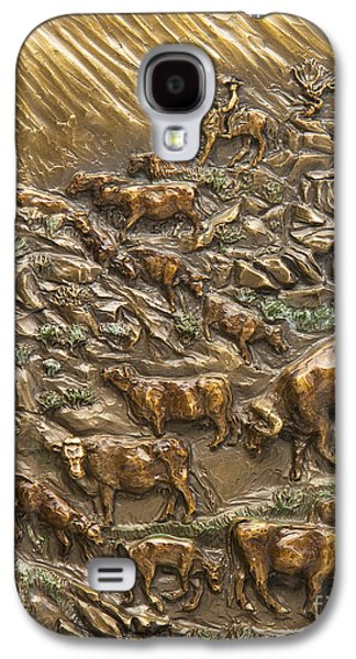 Horse Reliefs Galaxy S4 Cases - Wyoming Cattle Drive Galaxy S4 Case by Dawn Senior-Trask