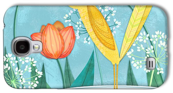 Garden Scene Mixed Media Galaxy S4 Cases - Y is for Yellow Bird Galaxy S4 Case by Valerie   Drake Lesiak