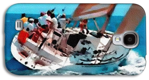 Abstract Digital Pastels Galaxy S4 Cases - Yacht Trip On A Saturday H B Galaxy S4 Case by Gert J Rheeders