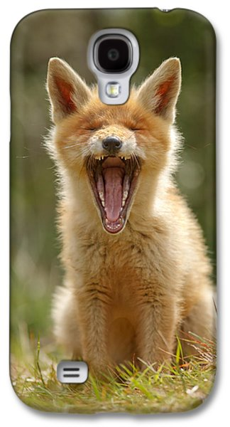 Fox Kit Galaxy S4 Cases - Yawning Fox Kit Galaxy S4 Case by Roeselien Raimond
