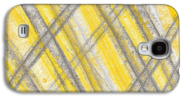Yellow Line Galaxy S4 Cases - Yellow And Gray Lines Galaxy S4 Case by Lourry Legarde