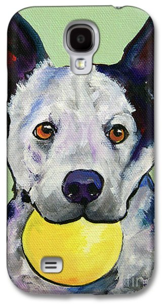 Cattle Dog Galaxy S4 Cases - Yellow Ball Galaxy S4 Case by Pat Saunders-White