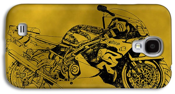 Suspension Drawings Galaxy S4 Cases - Yellow bike Galaxy S4 Case by Stephen Brooks