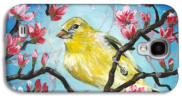 Wildlife Celebration Paintings Galaxy S4 Cases - Yellow Finch Bird By Gretchen Smith Galaxy S4 Case by Gretchen  Smith