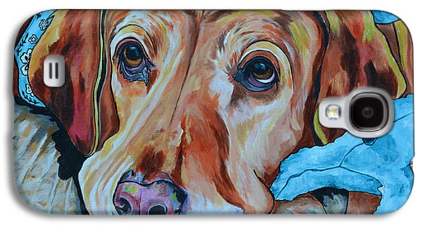 Dog Close-up Paintings Galaxy S4 Cases - Yellow Lab Galaxy S4 Case by Patti Schermerhorn