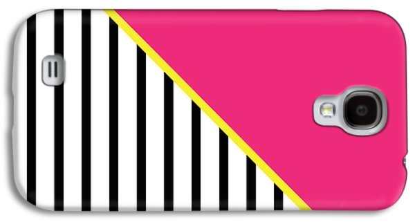 Geometric Shape Galaxy S4 Cases - Yellow Pink And Black Geometric 2 Galaxy S4 Case by Linda Woods