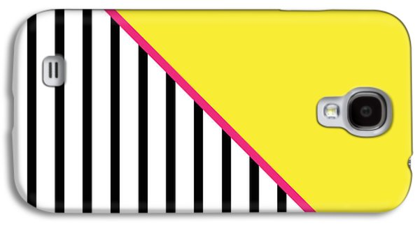 Bedroom Art Digital Art Galaxy S4 Cases - Yellow Pink And Black Geometric Galaxy S4 Case by Linda Woods