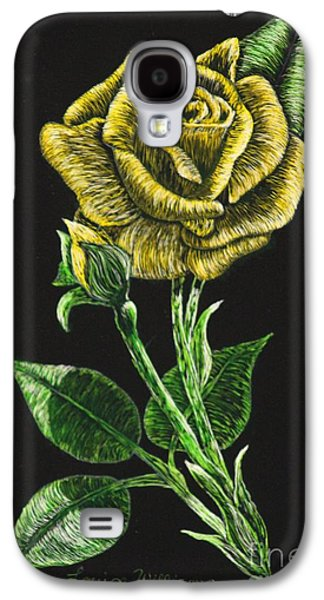 Green Reliefs Galaxy S4 Cases - Yellow Rose of Carolina Galaxy S4 Case by Louise Williams