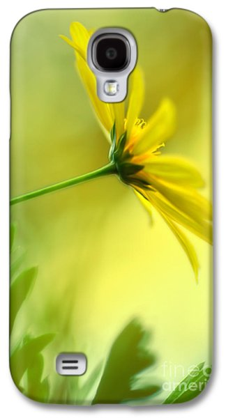 Nature Abstract Galaxy S4 Cases - Yellow Spring Daisy Abstract by Kaye Menner Galaxy S4 Case by Kaye Menner