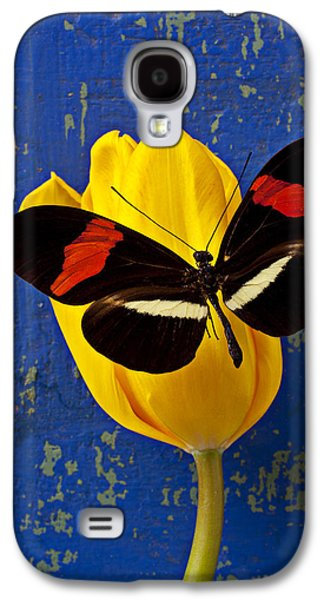 Yellow Tulip With Orange And Black Butterfly Galaxy S4 Case by Garry Gay