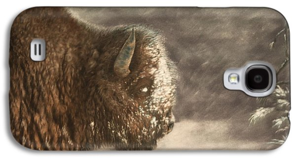 Bison Pastels Galaxy S4 Cases - Yellowstone Winter Galaxy S4 Case by Marilyn Meyer
