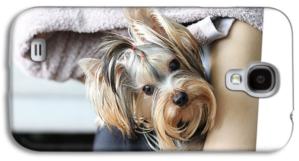 Puppies Galaxy S4 Cases - Yorkshire terrier sitting on womas is lap Galaxy S4 Case by Suwinai Sukanant