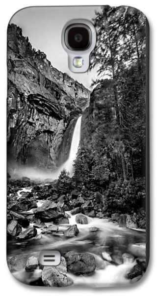 Early Spring Galaxy S4 Cases - Yosemite Waterfall BW Galaxy S4 Case by Az Jackson