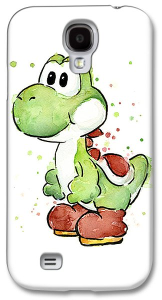 Cartoon Galaxy S4 Cases - Yoshi Watercolor Galaxy S4 Case by Olga Shvartsur