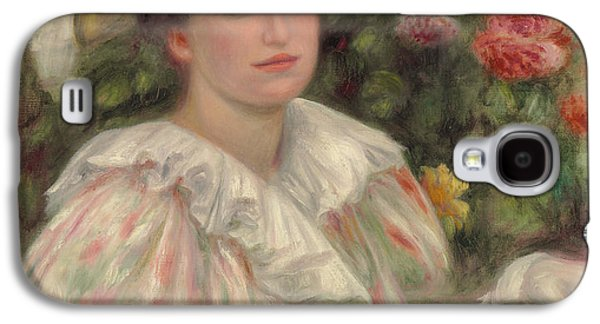 Woman In A Dress Galaxy S4 Cases - Young Girl Amongst Flowers or Woman with White Hat Galaxy S4 Case by Pierre Auguste Renoir