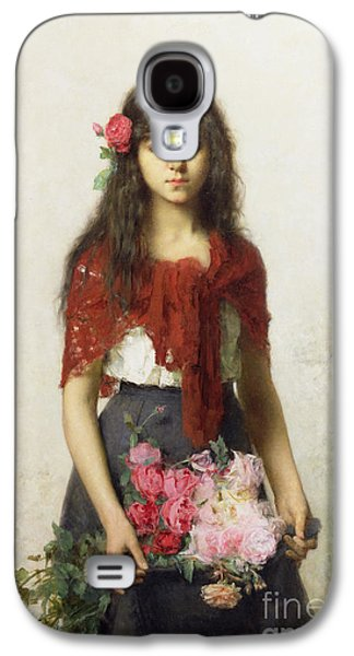 Cutting Galaxy S4 Cases - Young girl with blossoms Galaxy S4 Case by Alexei Alexevich Harlamoff