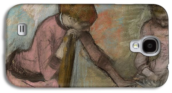 Chair Pastels Galaxy S4 Cases - Young Girls Looking at an Album Galaxy S4 Case by Edgar Degas