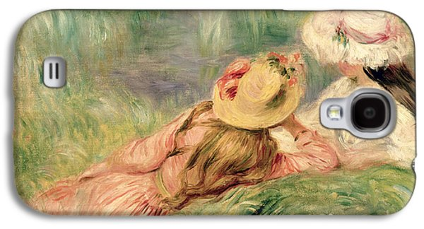 Sisters Galaxy S4 Cases - Young Girls on the River Bank Galaxy S4 Case by Pierre Auguste Renoir
