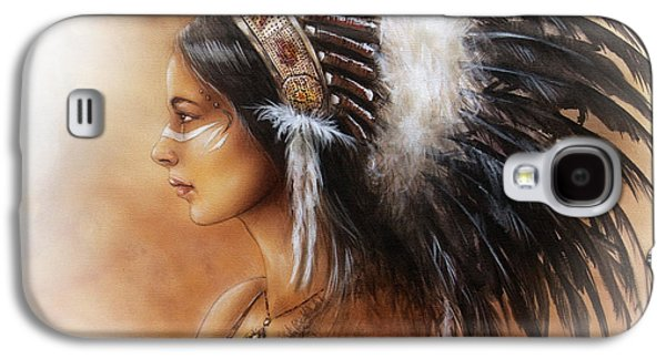 Native American Spirit Portrait Paintings Galaxy S4 Cases - Young Indian Woman Wearing A Big Feather Headdress A Profile Portrait On Structured Abstract Galaxy S4 Case by Jozef Klopacka