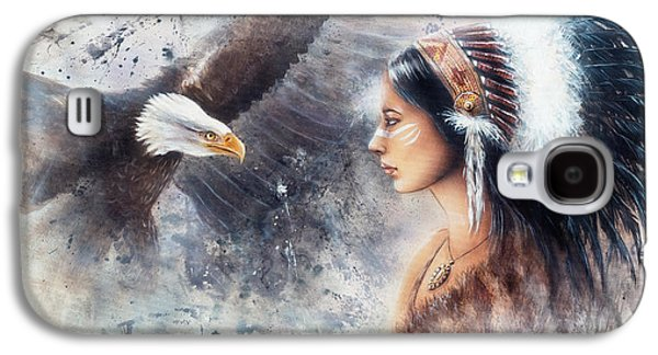 Native American Spirit Portrait Paintings Galaxy S4 Cases - Young Indian Woman Wearing A Gorgeous Feather Headdress. With An Image  Eagle Spirits Galaxy S4 Case by Jozef Klopacka