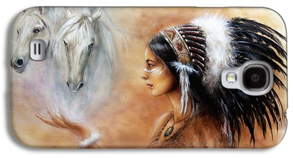 Native American Spirit Portrait Paintings Galaxy S4 Cases - Young Indian Woman Wearing A Gorgeous Feather Headdress With An Image Of Two White Horse Galaxy S4 Case by Jozef Klopacka