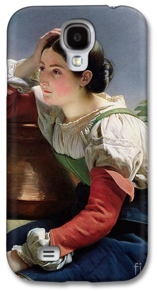 Copper Galaxy S4 Cases - Young Italian at the Well Galaxy S4 Case by Franz Xaver Winterhalter