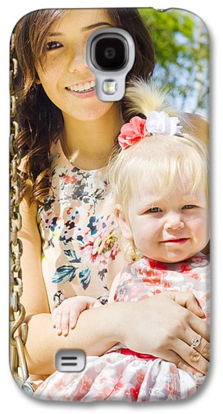 Young Mom With Her Baby Girl On A Swing Outside Galaxy S4 Case by Jorgo Photography - Wall Art Gallery
