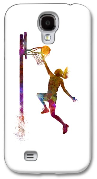 Young Woman Basketball Player 04 In Watercolor Galaxy S4 Case by Pablo Romero