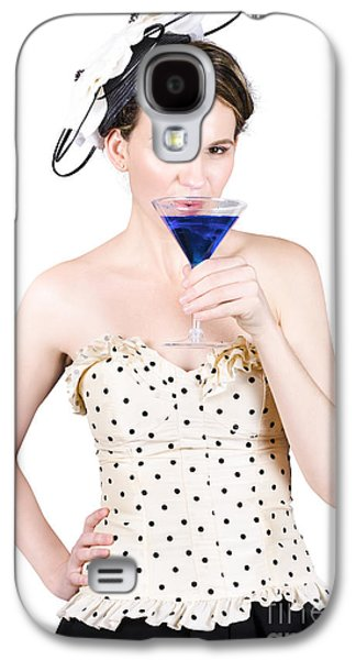 Strapless Dress Galaxy S4 Cases - Young Woman Drinking Alcoholic Beverage Galaxy S4 Case by Ryan Jorgensen