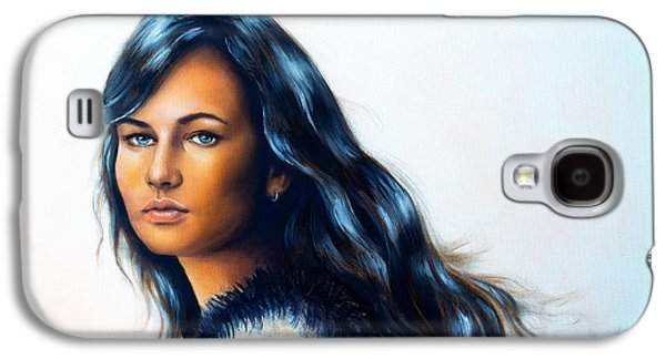 Person Galaxy S4 Cases - Young woman portrait with long dark hair and blue eye color p Galaxy S4 Case by Jozef Klopacka