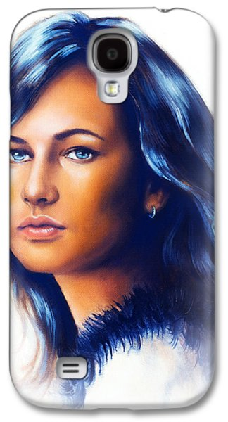 Person Galaxy S4 Cases - Young woman portrait with long dark hair and blue eye color painting white background Galaxy S4 Case by Jozef Klopacka