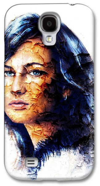 Person Galaxy S4 Cases - Young woman portrait with long dark hair andblue eye color painting  white background crackle Galaxy S4 Case by Jozef Klopacka