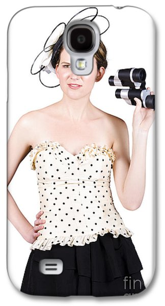 Strapless Dress Galaxy S4 Cases - Young Woman With Binoculars Galaxy S4 Case by Ryan Jorgensen