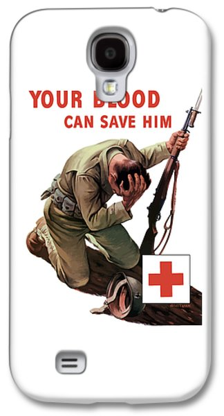 Red Mixed Media Galaxy S4 Cases - Your Blood Can Save Him - WW2 Galaxy S4 Case by War Is Hell Store